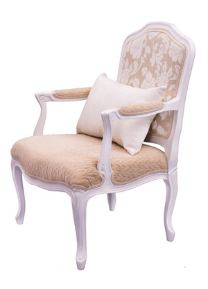 silla tapizada beige